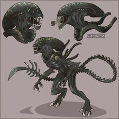 Grid Xenomorph Fanart by on DeviantArt Les Aliens, Aliens Movie, Arte Alien, Alien Art, Alien Creatures, Fantasy Creatures, King Kong, Giger Art, Alien Isolation