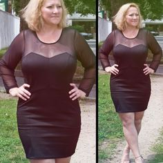 We're loving this sexy plus size little black dress with a figure-flattering cut and mesh neckline and arms on Debbie! In stores now!