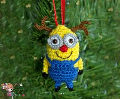 Crocheted Despicable Me Minion reindeer by CaitsCrochetedDolls