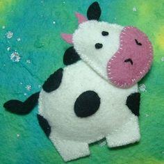Madame Moo Felt Brooch on Folksy. Felt Christmas Ornaments, Christmas Crafts, Cow Craft, Felt Decorations, Felt Brooch, Brooch Pin, Felt Fabric, Felt Diy, Felt Animals