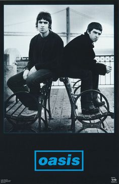 A classic Oasis band poster! Liam and Noel Gallagher in a rare moment of brotherly love. Definitely Maybe check out the rest of our great selection of Oasis posters! Need Poster Mounts. Music Aesthetic, Blue Aesthetic, Oasis Music, Oasis Band, Liam And Noel, Paul Weller, Band Posters, Room Posters, Music Posters