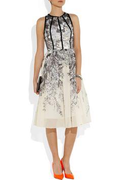 Lela Rose|Printed cotton-voile dress|NET-A-PORTER.COM