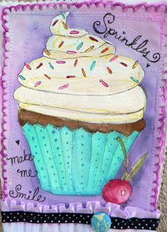 Adorable cupcake on fabric art Cupcake Painting, Cupcake Art, Fabric Painting, Fabric Art, Painting For Kids, Art For Kids, Cupcake Quotes, Fabric Postcards, Pastry Art
