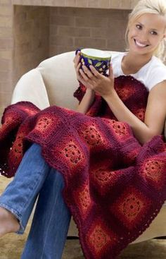 Blushing Grannies Free Crochet Afghan Pattern from Red Heart Yarns