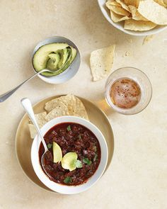 Texas Red Chili   Martha Stewart Living - Sometimes, basic is best. A beef and tomato base gets its spice from dried ancho and guajillo chiles and fresh jalapeno and serrano chiles.