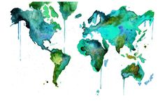 "Watercolor World Map No. 6 18 x 24"" print on Etsy, $90.00"