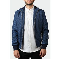 Ally Checkered Navy Bomber Jacket: Bomber Jacket by Ally.  Inner pocket, 2 hand pockets, mixed fibres, fitted.  Handmade in London, England.