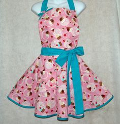 Pink & Teal Cupcake Ladies Apron Embroidered by AGiftToTreasure