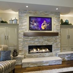 Portland Living Room Tv Above Fireplace Design Ideas, Pictures, Remodel, and Decor