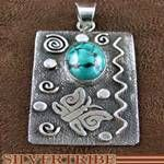 Navajo Turquoise Jewelry S. Skeets Sterling Silver Pendant