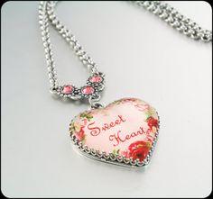 Heart Pendant Valentine Day Pendant Sweet by BlackberryDesigns, $68.00