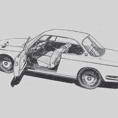 BMW2000CS Bmw Sketch, Bmw 2002, Doodles, Drawings, Car, Instagram Posts, Design, Automobile, Sketches
