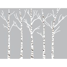 Dana Decals Birch Trees Matte White & Matte Dark Brown By ($75) ❤ liked on Polyvore featuring home, home decor, wall shelves & ledges and birch tree home decor