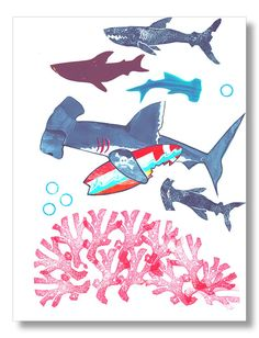 Hammerhead Shark Surfer Art Print Beach Decor Surf by mangoseed