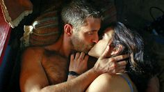 Red hot romantic scene in bed.  Oliver Jackson-Cohen and Adria Arjona in Emerald City, Gorgeous actors, great dialogue & script, gorgeous costumes, scenery, cinematography.  Gorgeous Masculine Hunk!!