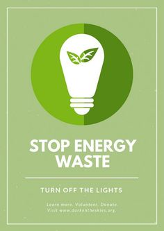 Green Bulb and Leaves Grungy Environmental Protection Poster