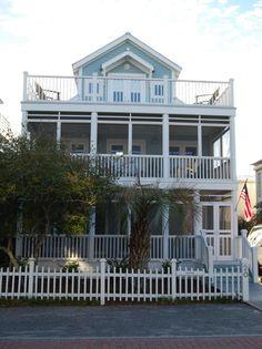 House of Turquoise: Turquoise Houses of Seaside, Florida, like the deck Coastal Entryway, Coastal Farmhouse, Coastal Cottage, Coastal Homes, Coastal Decor, Coastal Style, Coastal Rugs, Coastal Bedding, Beach Homes