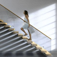 Learn how to design a cantilevered staircase by understanding the physics behind a cantilevered structure and the details of the steel frame. Cantilever Architecture, Cantilever Stairs, Metal Stairs, Modern Stairs, Architecture Design, Winding Staircase, Floating Staircase, Staircase Railings, Stairways