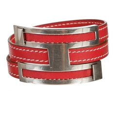 Pre-owned Hermes Red and Palladium Pousse Pousse Bracelet ($395) ❤ liked on Polyvore featuring jewelry, bracelets, preowned jewelry, leather bangles, red jewelry, red jewellery and hermes jewelry