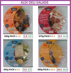 Aldi salads syn value Slimming World Syns List, Slimming World Syn Values, Slimming World Treats, Slimming Word, Slimming Eats, Slimming World Recipes, Aldi Shopping, Healthy Shopping, Healthy Meals