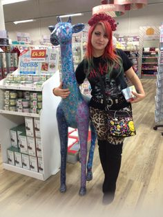 May just add a little snippet of me on here ;) with my good friend the decoupaged giraffe at hobbycraft in Cambridge ;)