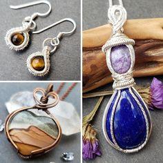 Moon Jewelry, Copper Jewelry, Wire Jewelry, Jewelry Box, Unique Jewelry, Garnet Bracelet, Amethyst Necklace, Pendant Necklace