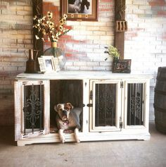 We build handcrafted custom solid wood dog kennels that are unique dual purpose furniture for dogs and people. Each kennel is made to order from the highest quality materials, solid wood, with forged hammered iron accents (not rebar!), solid brass hardware and trimmed with wood