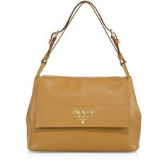 Prada Women's Daino Leather Flap Shoulder Bag (€2.040) ❤ liked on Polyvore featuring bags, handbags, shoulder bags, apparel & accessories, white purse, genuine leather shoulder bag, white shoulder bag, prada shoulder bag and white leather handbags