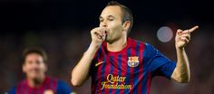 Iniesta celebrating one of his goals (Collect your iCroms)