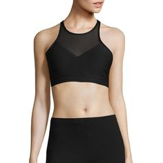 Steve Madden Solid Medium Impact Sports Bra ($34) ❤ liked on Polyvore featuring activewear, sports bras, black, racerback sports bra, crew neck pullover, racer back sports bra, sleeveless pullover and steve madden