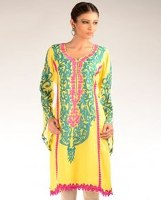 #Exclusivelyin, #IndianEthnicWear, #IndianWear, #Fashion, Bright Yellow Kurta Tunic with Floral Embroidery