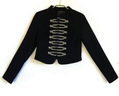 Marching Band Jacket Black & Golden Women's Blazer Mandarin Collar Military Jacket  Michael Jackson Jacket S Size Women's Blazer by Vintageby2sisters on Etsy