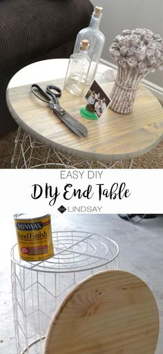 Easy DIY End Table using two items. Easy DIY End Table using two items.) Easy DIY End Table using two items. home decor house projects side table wood projects stand ideas Outdoor End Tables, Diy End Tables, Living Room End Tables, Diy Table, Bedroom Table, Cozy Bedroom, Bedroom Ideas, Crate Side Table, Side Table Decor