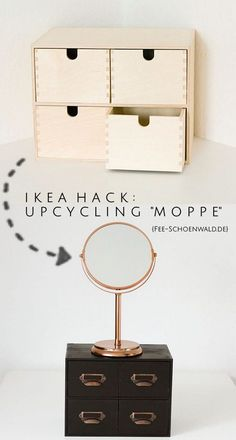 Ikea Upcycling Hack: The Moppe Dresser as make-up storage in black-copper . - Ikea DIY - The best IKEA hacks all in one place Ikea Hacks, Hacks Diy, Bedroom Hacks, Ikea Bedroom, Budget Bedroom, Girls Bedroom, Diy Furniture Tutorials, Diy Projects, Ikea Furniture