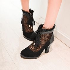 Women Wedding Dating Lace Mesh Cut Out Round Toe Plstform Pumps Heel Ankle Boots