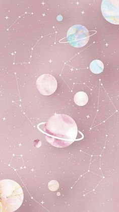 Zodiac and Planets Wallpaper 2 by Gocase - # . longbob Zodiac and Planets Wallpaper 2 by Gocase - # Zodiac Deutsch Professionelle Fot. Wallpaper Pastel, Wallpaper Space, Pink Wallpaper Iphone, Iphone Background Wallpaper, Aesthetic Pastel Wallpaper, Disney Wallpaper, Cartoon Wallpaper, Aesthetic Wallpapers, Pink Aesthetic