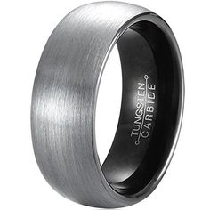 awesome MNH Men's Tungsten Carbide Wedding Band Black 8mm Comfort Fit Brushed Matte Finish Ring Size 7-13