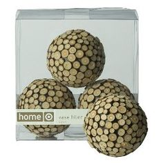 glue pieces of wood to Styrofoam balls...you could also collect bottle cork or bottom of christmas tree wood