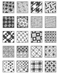 Zentangle Grid 1 by Emily Perkins Tangle Doodle, Tangle Art, Zen Doodle, Doodle Art, Zentangle Drawings, Doodles Zentangles, Doodle Drawings, Doodle Designs, Doodle Patterns