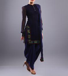 Indigo Shibori Dyed Chiffon Salwar Kameez Rohit Bal