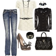 """Cream & Black Lace"" by heather-rolin on Polyvore"