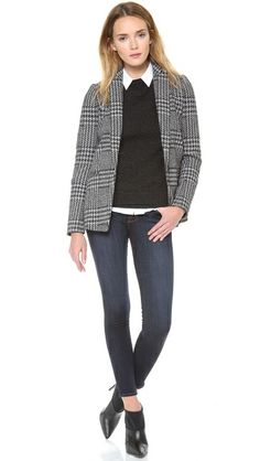 grey blazer, black crew neck sweater, white button down, skinny jeans, pointy booties