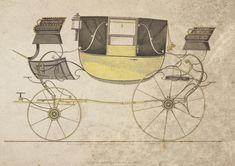 Landau carriage, 1816. This convertible, four-wheeled carriage is drawn by a pair of horses or four-in-hand. It has facing seats over a dropped footwell.