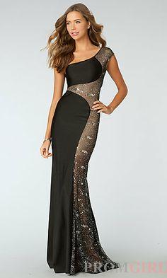 One Shoulder Sequin Embellished Floor Length Dress at PromGirl.com