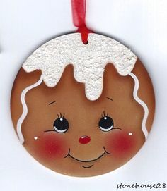 HP GINGERBREAD Face with Sparkly Icing ORNAMENT #Handpainted