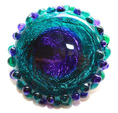 Button ~ Peacock Eye, NOT Set In Metal, Foil, Sheet & Sheath Overlay, Opaque Grey Base, Lampworked by KPHoppe ~ Large by KPHoppe on Etsy