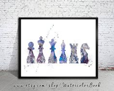Chess piece Watercolor Print silhouette art от WatercolorBook