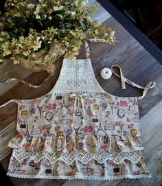 Apron for kitchen linen 3 (country, Provence, boho),handmade lace
