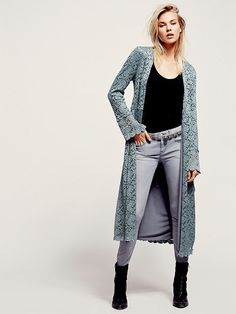 Free People Lace Soft Long Jacket, $168.00 The cool therapist who came so far..nice.
