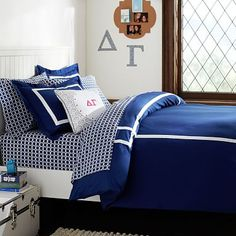 IT IS EXACTLY WHAT I WANT. Too bad it is so pricey. Ribbon Trim Duvet Cover + Sham, Royal Navy.